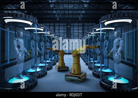 Robot production line with 3d rendering robots in glass capsules - Stock Photo