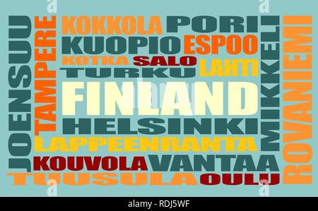 finland tags cloud - Stock Photo