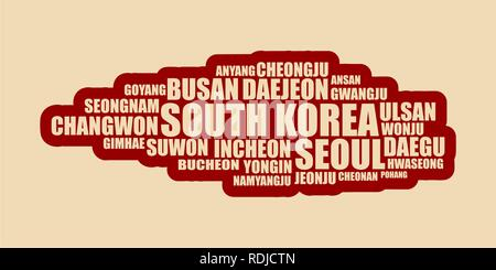 List of cities and towns of South Korea. - Stock Photo