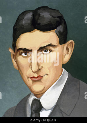 Franz Kafka (1883-1924). Czech writer in German language. Portrait. Autor: Francisco Fonollossa. - Stock Photo
