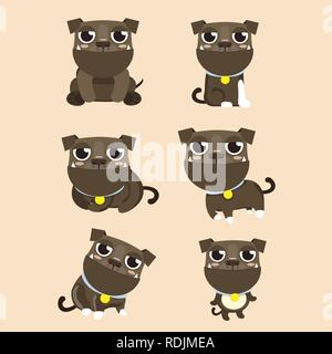 Dog American Pitbull Terrier set in different poses. - Stock Photo