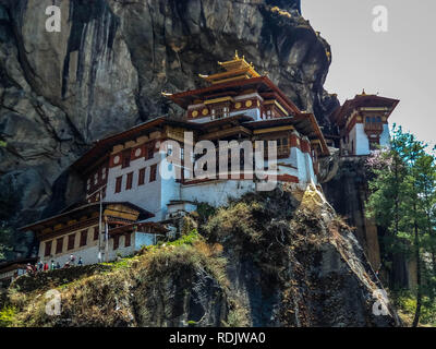 View of Taktshang Monastery or tigers nest on the mountain in Paro, Bhutan - Stock Photo