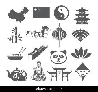 China icons set - Stock Photo