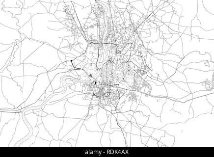 Area map of Kolkatta, India. This artmap of Kolkatta contains geography lines for land mass, water, major and minor roads. - Stock Photo