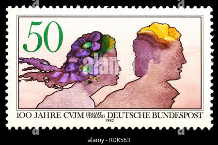 German postage stamp (1982)  : 100 years of the Christlicher Verein Junger Menschen / Christian Association for Young People - Stock Photo