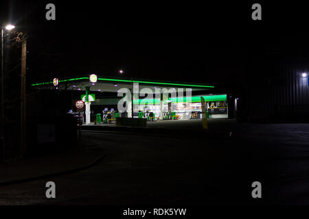Petrol and service station at night - Stock Photo