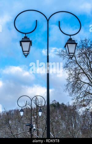 Two street lights in a park with blue sky clear winter day - Stock Photo