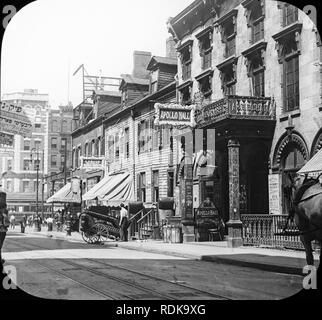Late Victorian view of Clinton Street in the Jewish Quarter in New York City. The Apollo Hall Theatre on the right.