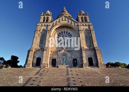 Main facade of huge basilica and sanctuary Santa Luzia in Viana do Castelo - Stock Photo
