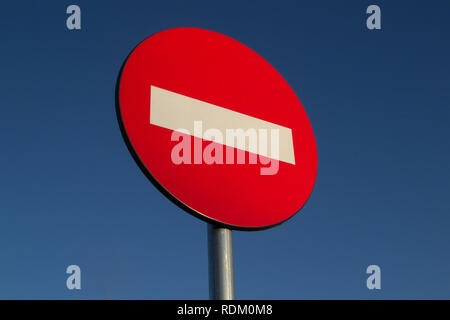 No way sign against the background of a blue sky - Stock Photo