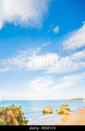 high-angle view of praia da rocha in early season, portimao, algarve, portugal - Stock Photo