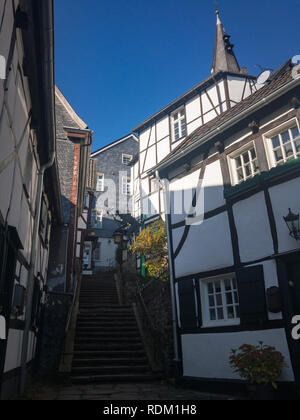 Cityscape of Essen-Kettwig and Kirchtreppe with ist typical half-timbered houses in black and white - Stock Photo