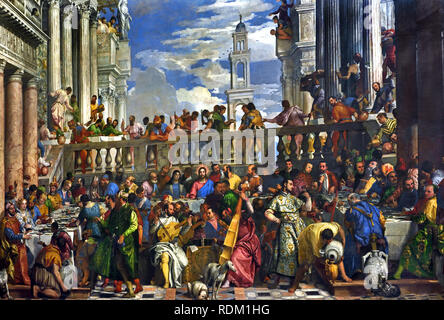 The Wedding Feast at Cana 1563 by Paolo Caliari, known as Paolo Veronese (1528–1588), was an Italian Renaissance painter, Venice, Italy - Stock Photo