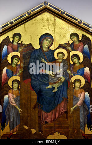 The Virgin and Child in majesty surrounded by six angels (Maestà) 1280 Cenni di Pepe, called CIMABUE, 1272 to 1302, Italy, Italian, - Stock Photo