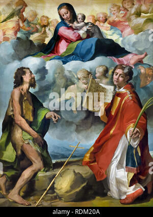 Michelangelo Anselmi 1491-1556 Madonna in Glory with Sts. John the Baptist and Stephan 1530  Italy, Italian, - Stock Photo