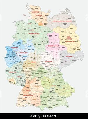 administrative and political vector  map of Germany, newly revised 2019 - Stock Photo