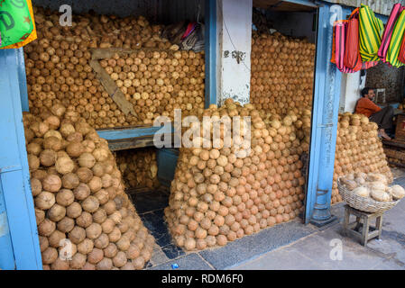 Stall selling coconuts, Devaraja market, Mysore. Mysuru, Karnataka, India - Stock Photo