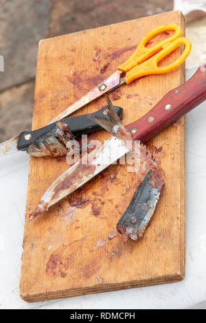 A close up view of a fishermans sardine bait on a wooden board with two knifes, yellow handle scissors that has been cut up and used to catch fish - Stock Photo