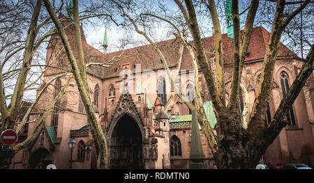 Strasbourg, France - December 28, 2017 - Architectural detail of the Protestant Church of St. Peter the Younger in Strasbourg on a winter day - Stock Photo