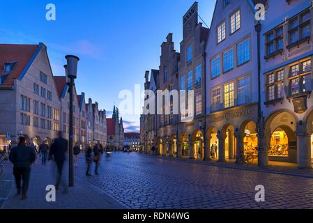 Historic Gable Houses at dusk, Prinzipalmarkt, Münster, North Rhine-Westphalia, Germany - Stock Photo