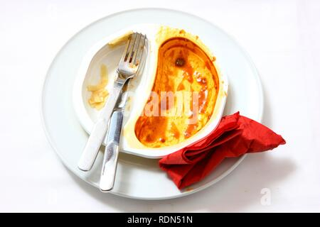 Remains of a pre-prepared meal after being eaten, served on a plate, in the original packaging - Stock Photo