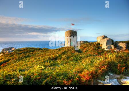 Martello towers, watch towers and fortified towers built in the 17th century, situated along the coastline, here tower number 5 - Stock Photo