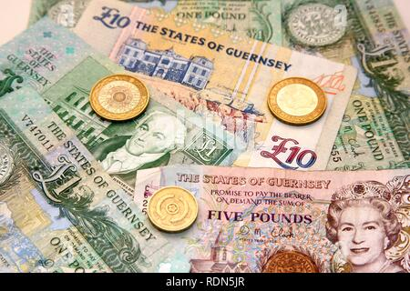 Special pound notes of the Channel Island of Guernsey - Stock Photo