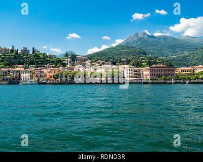 View to Menaggio, Lago di Como, Lake Como, Province of Como, Lombardai, Italy - Stock Photo