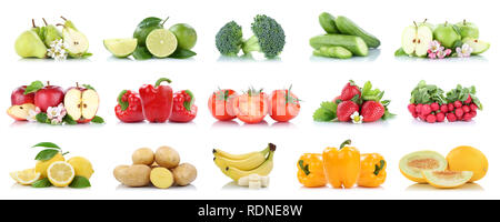 Fruits and vegetables collection isolated apple tomatoes colors fresh fruit on a white background - Stock Photo