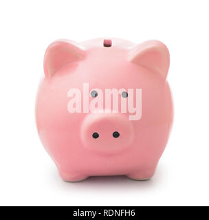 Front view of piggy bank isolated on white - Stock Photo