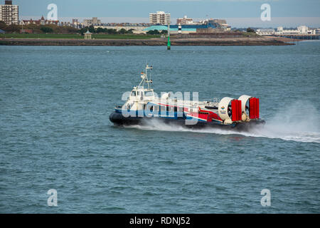 Hovertravel GH2114 Freedom 90 at full speed as it crosses the Solent on its way back to Southsea from the Isle of Wight. - Stock Photo