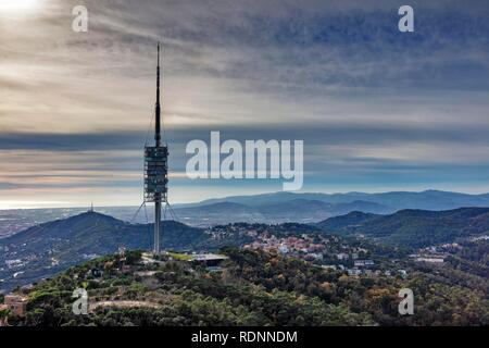 Torre de Collserola, television tower, Tibidabo, Barcelona, Catalonia, Spain - Stock Photo