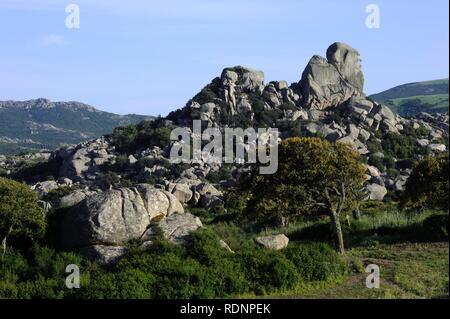 Granite rocks in the Piano Grande dei Sassi plain, Valle di Luna, Gallura, Olbia-Tempio Province, Northern Sardinia, Italy - Stock Photo