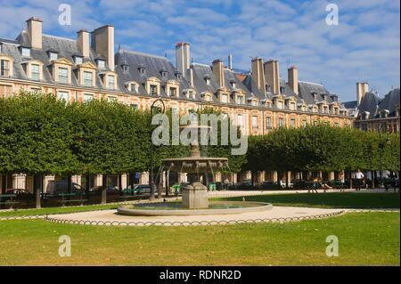 Place des Vosges, Le Marais area, Paris, France, Europe - Stock Photo