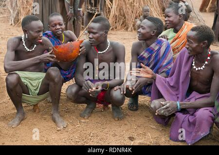 Nyangatom, Bume or Buma men sharing a calabash of cow blood, Omo Valley, Ethiopia, Africa - Stock Photo