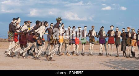 Nyangatom, Bumi, tribal dance ceremony, Omo river Valley, Ethiopia, Africa - Stock Photo