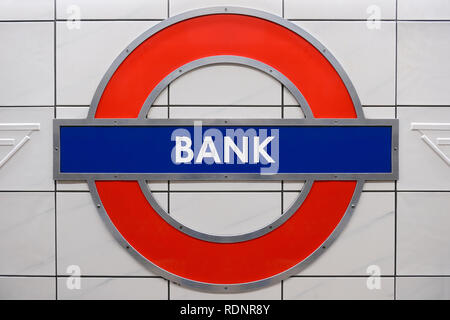 Bank Underground Station Sign, London, United Kingdom - Stock Photo