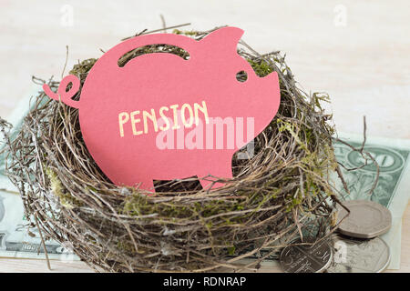 Paper piggy bank with the word Pension in nest on money - Concept of pension fund - Stock Photo