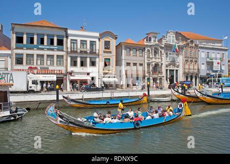 Colourful excursion boats in Aveiro, Costa de Prata, Portugal, Europe - Stock Photo