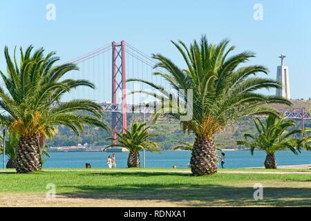 Ponte 25 de Abril Bridge, Lisbon, Portugal, Europe - Stock Photo