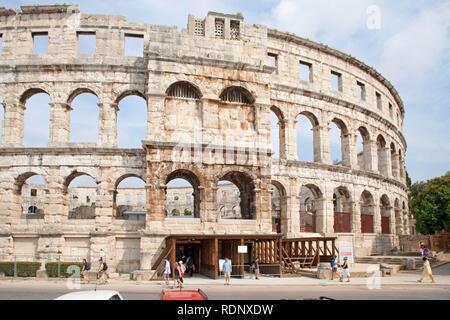 Amphitheatre in Pula, Istria, Adriatic Coast, Croatia, Europe - Stock Photo