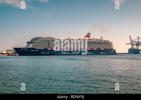 Malaga, Spain - August 23, 2018. Mein Schiff 6 cruise ship, owned and operated by TUI AG and RCCL (Royal Caribbean Cruises Ltd), docked at the port of - Stock Photo