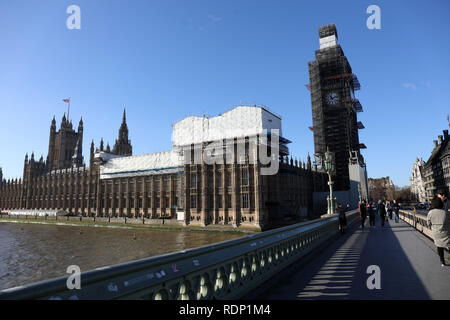 Parliament Westminster during works - Stock Photo