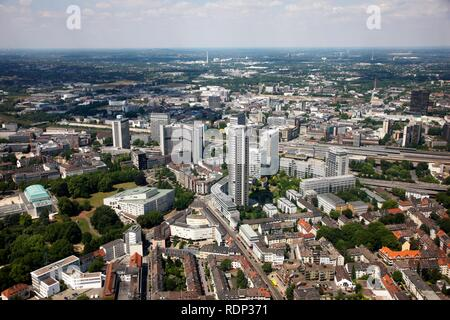 Downtown, with the philharmonic hall, bottom left, Aalto Theater, Opera, EVONIK headquarters and RWE Tower administrative - Stock Photo