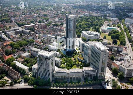 Downtown, EVONIK headquarters and RWE Tower administrative building, right, Essen, North Rhine-Westphalia - Stock Photo