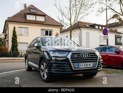 STRASBOURG, FRANCE  - APR 8, 2018: Luxury Audi Q7 SQ7 SUV on a French street  - Stock Photo
