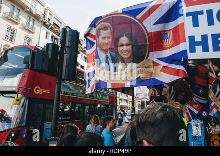 LONDON, UNITED KINGDOM - MAY 18, 2018: Street shop selling souvenir memorabilia royal wedding celebration a day before Windsor Castle Meghan Markel Prince Harry marriage - Stock Photo