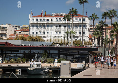 Hotel Splendid and marina at Cannes in the south of France - Stock Photo