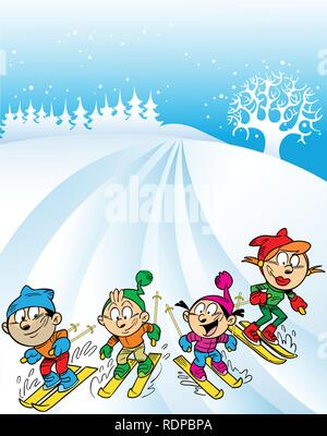 The illustration shows a family ski trip. Children with parents to ski the mountain. Illustration done in cartoon style, on separate layers. - Stock Photo