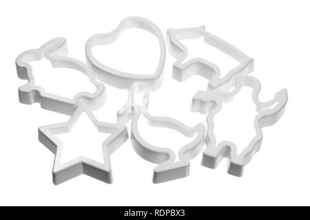 Cookie Cutters on White Background - Stock Photo